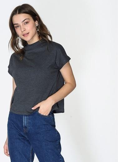 Loves You Dik Yaka Kare Form %100 Cotton T-Shirt Antrasit
